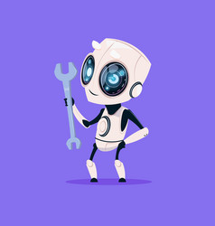 cute robot hold wrench isolated icon on blue vector image