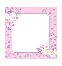 cute unicorns and different magic elements and vector image