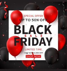 Dark square banner for black friday sale vector