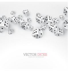 dice floating on white background vector image