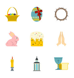 Easter day icon set flat style vector