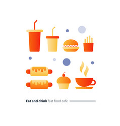 eat and drink set of fast food flat icons cafe vector image