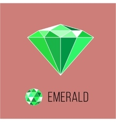 Emerald flat icon with top view Rich luxury vector image