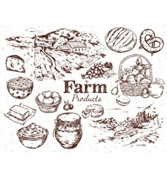 Farm Products Sketch Set vector