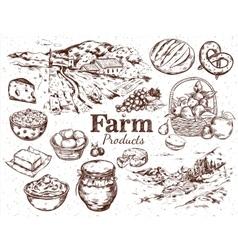 Farm products sketch set vector
