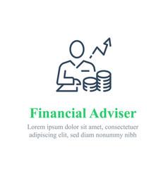 Financial adviser stock market analysis vector