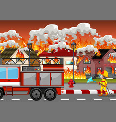 fire disaster at village vector image