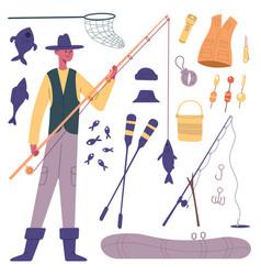 fisherman character cartoon vector image