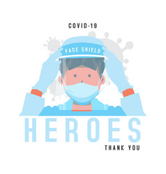 Flat heroes covid19 19 medical personnel design vector