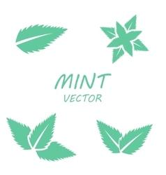 Flat mint icons set vector