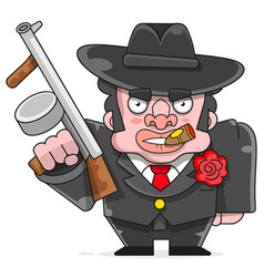 Gangster man with a gun art retro style vector