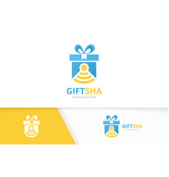 Gift and wifi logo combination present vector