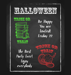 halloween holiday chalk poster for party textured vector image