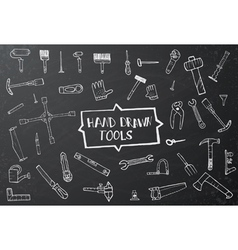 Hand drawn tool icons set vector image