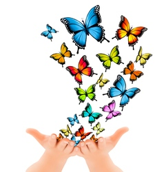 Hands releasing butterflies vector