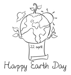 happy earth day style doodle hand draw vector image