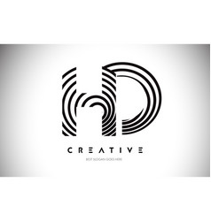 Hd lines warp logo design letter icon made with vector