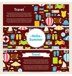 Hello Summer and Travel Concept Template Banners vector