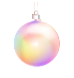 holographic bauble or ball for christmas fir tree vector image