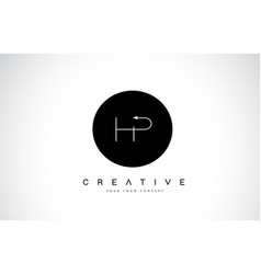 hp h p logo design with black and white creative vector image