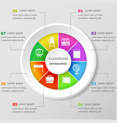 Infographic design template with classroom icons vector