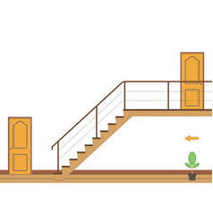 Interior bright room with stairs and two doors vector