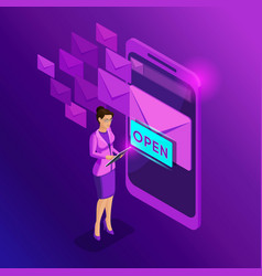 Isometric business women look email inbox electr vector