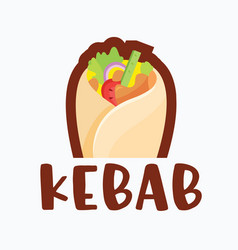 Kebab with chicken or meat and vegetables roll vector
