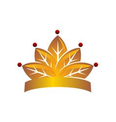 leaf crown logo design template vector image