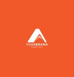 Letter a and mountain logo design concept vector