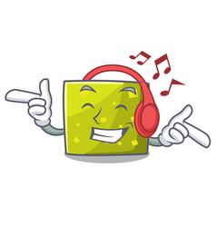 listening music square mascot cartoon style vector image
