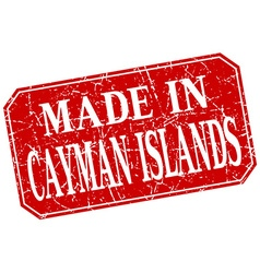 Made in Cayman Islands red square grunge stamp vector
