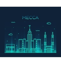 Mecca skyline Trendy linear vector