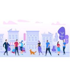 Men and woman walking in city urban lifestyle vector