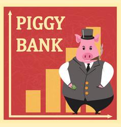 metaphor piggy bank retro poster vector image