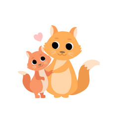 mother squirrel and its baby cute forest animal vector image