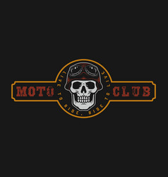 motorcycle club vintage colorful label vector image