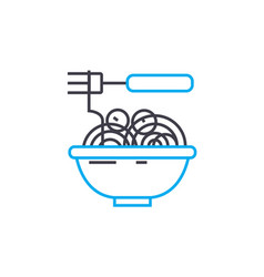 Noodles linear icon concept noodles line vector