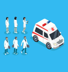nurse and doctor near ambulance car color banner vector image