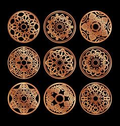 pictograph set luxury gold mandala monograms vector image