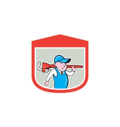 Plumber holding big monkey wrench shield cartoon vector