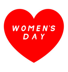 Red heart for womens day with white fill signature vector