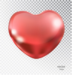 red heart made of metal with a transparent vector image