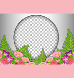 round frame transparent with tropical flowers vector image