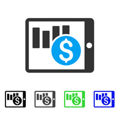 Sales chart on pda flat icon vector