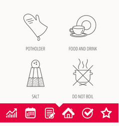 Salt potholder and food drink icons vector