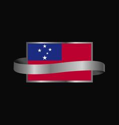 Samoa flag ribbon banner design vector