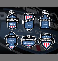 set american football logos emblems labels vector image
