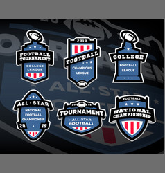 Set of american football logos emblems labels on vector