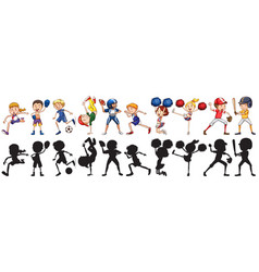set of athlete character vector image